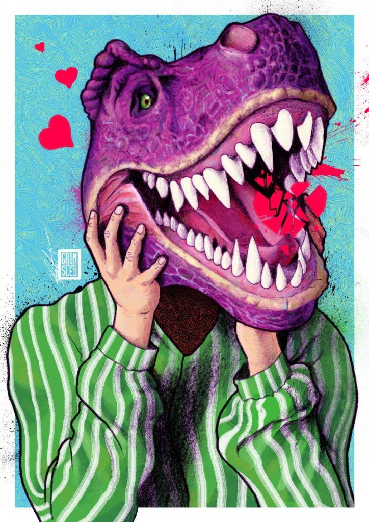 person with purple dinosaur head broken hearts barney doomed mr.grimsley mr grimsely mrgrimsley rob crawford illustrator illustration artwork