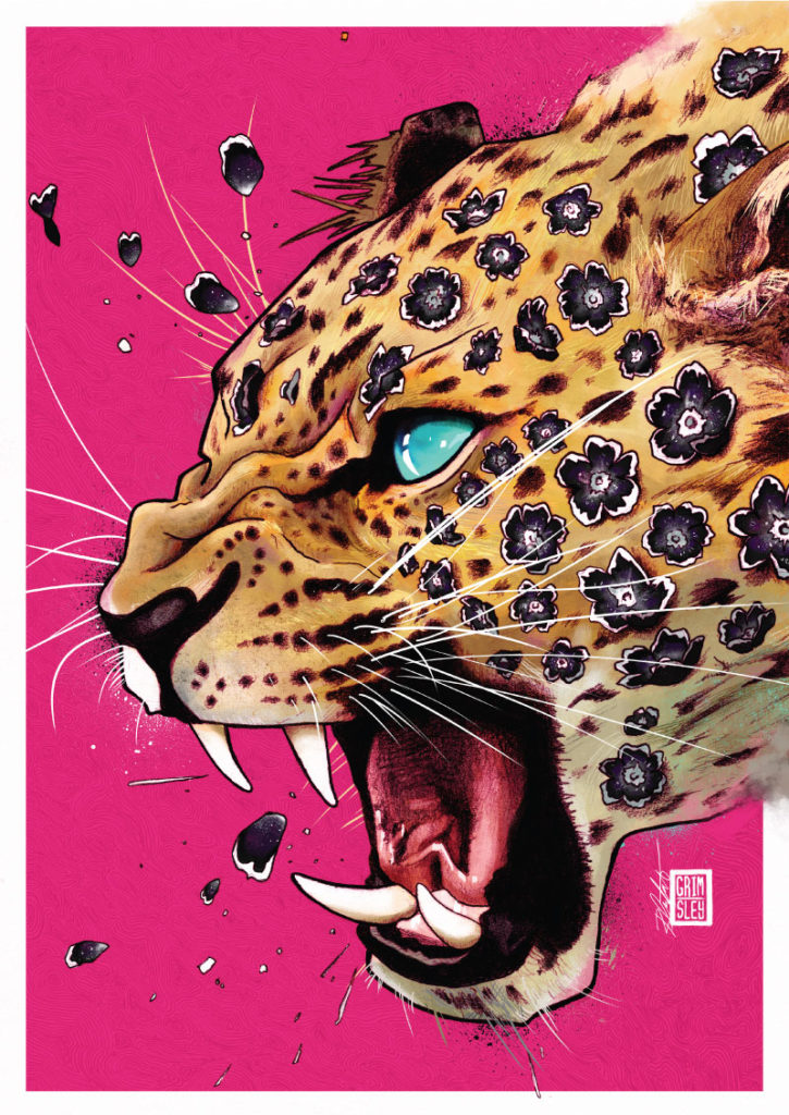 leopard growling with blue eyes against a pink background with black flowers for spots mrgrimsley mr grimsley Rob Crawford mr. grimsley illustrator illustration artist