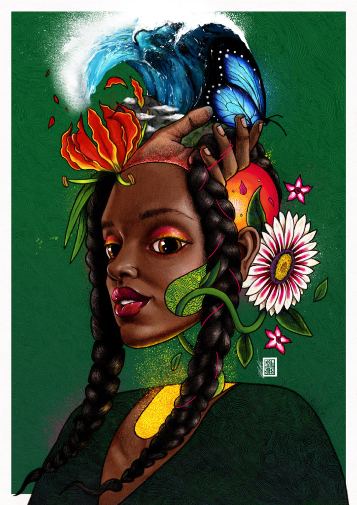 jamesons whiskey ecosystems pernod ricard mrgrimsley mr_grimsley mr grimsley rob crawford robcrawford south africa artist illustrator illustration woman with black braids against green background with no neck with flowers coming out of her head and a hand holding a blue butterfly with a tidal wave behind it