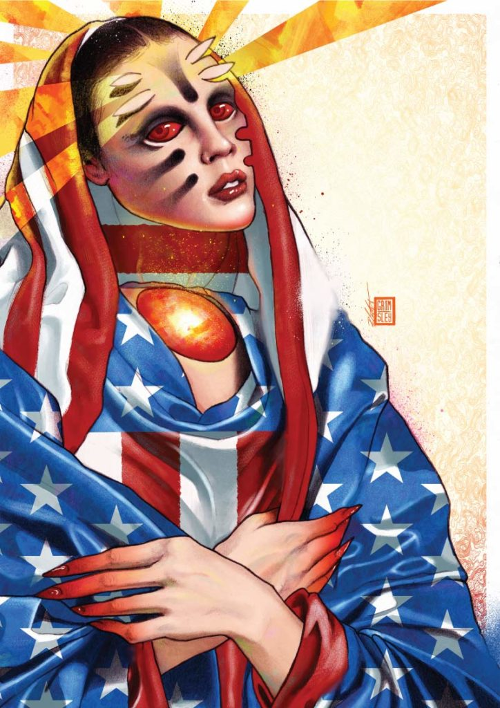 USA land_of_the_grave capitol hill capitol_hill capitol_hill_riot riot democracy facism america donald trump donald_trump woman with american flag draped over her and yellow rays coming out of her head with blood red eyes and fire for a neck rob crawford robcrawford mrgrimsley mr_grimsley mr grimsley art artwork illustration