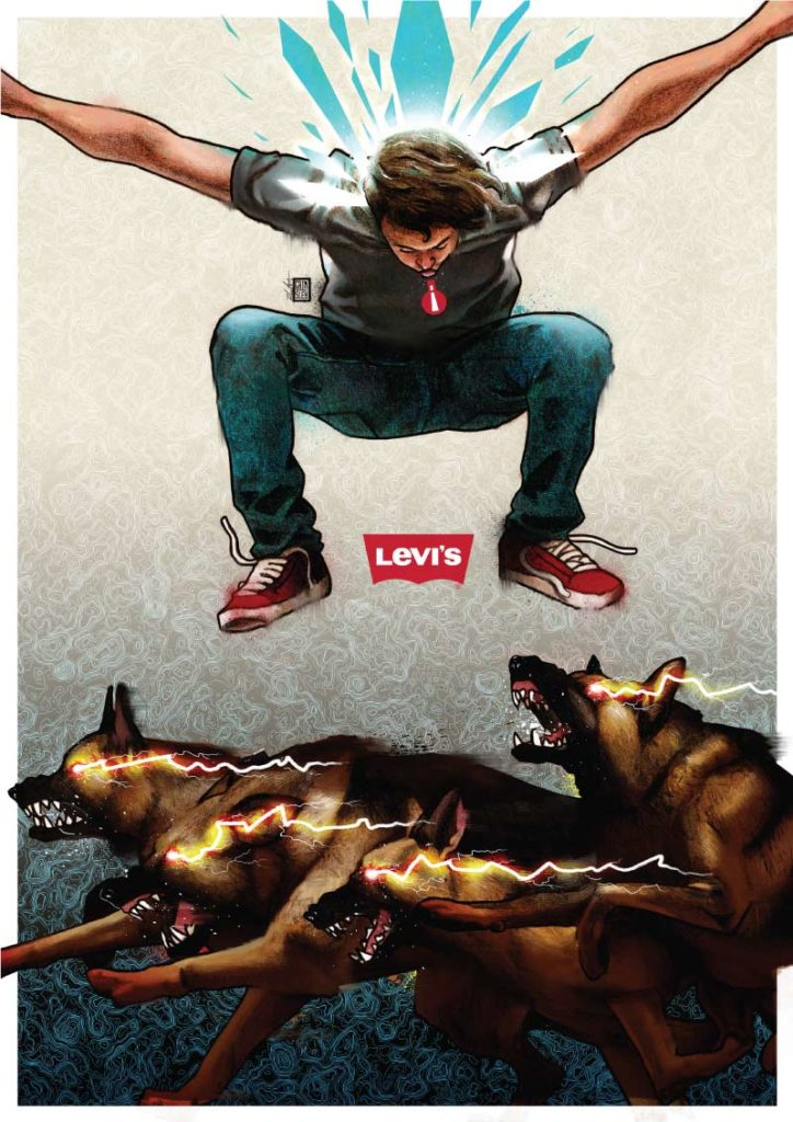 levis levis_jeans ahead_of_the_pack man jumping up in the air with arms open avoiding angry pack of german shepards with yellow lightning coming out of their eyes rob crawford robcrawford mrgrimsley mr_grimsley mr grimsley art artwork illustration